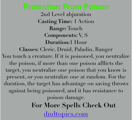 Protection From Poison 5E