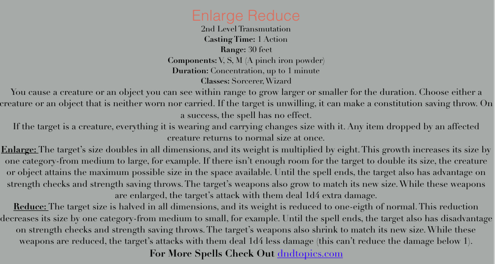 Enlarge/reduce 5e spell