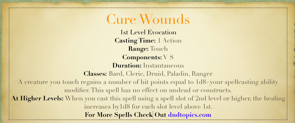 cure wounds 5e